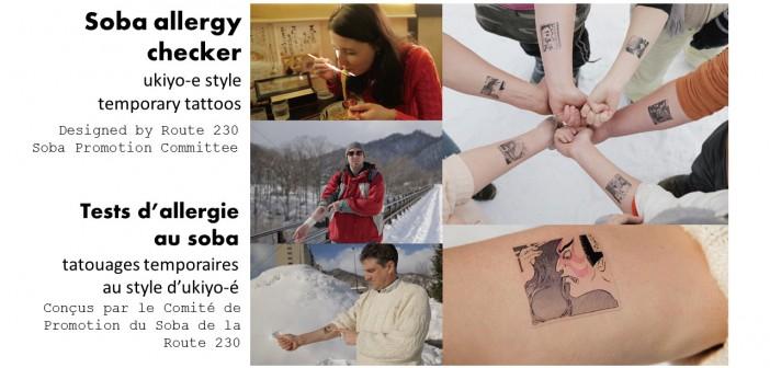 Tests d'allergie au soba - tatouages temporaires au style d'ukiyo-é (article by amuzen)